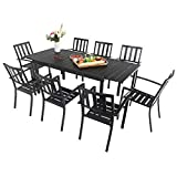Sophia & William Black Patio Dining Set, 9 Piece Metal Outdoor Expandable Dining Table Set Bistro Furniture Set - 1 Rectangle Expanding Dining Table and 8 Backyard Garden Outdoor Chairs
