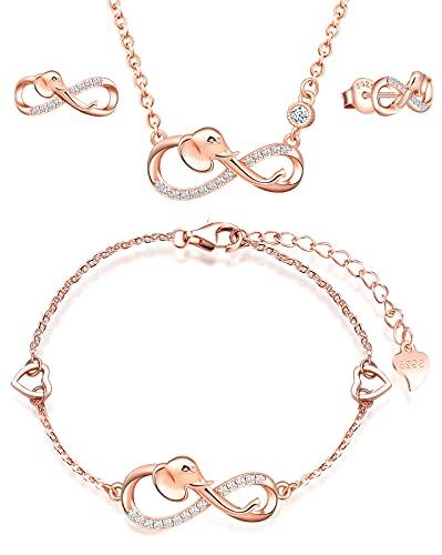 INFINIONLY Juegos de joyas, Pendientes Pulsera Collar colgante para mujer niña, pendientes pulsera collar de plata 925, pendientes pulsera collar con símbolo de infinito y elefante lindo, con circón
