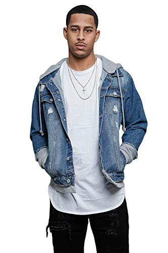 Victorious Men's Detachable Hoodie Layered Look Distressed Denim Jean Jacket DK140 - Indigo/Grey - Large - GG8C