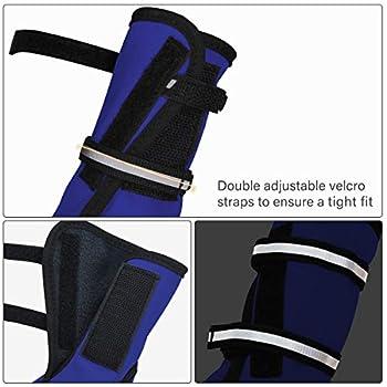 Bottes de protection pour chien Ensemble imperméable, chaussures chien antidérapantes avec boucle adhésive Sangles réfléchissantes Chaussures chiens chaudes résistantes pour les chiens Bleu XL