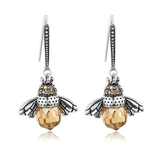 Zuoye Dancing Bee Earrings Sterling Silver Queen Bee Dangle Earrings for Women Teen Girls Cute Crystal Bee Earrings