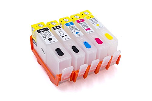 vhbw CISS Leer Drucker Tinten Patrone Set B/C/M/Y + photo Chip für HP Deskjet 3520, 3522 wie CB317, CD972, CD973, CD974, CD975, 364, 364 Xl.