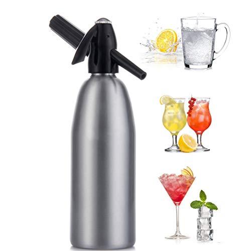Soda Siphon wassersprudler Soda stream für Mojitos, Gin Fizz Cocktails, Aluminium Holen Sie sich Mineralwasser Wenn du es willst - Verwendet Standard-CO2-Ladegerät (nicht inklusive) 1 Liter,Silver
