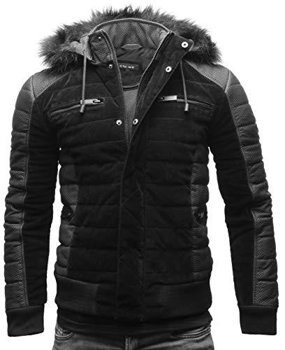 Crone Norwin Herren Fellkragen Lederjacke Jacke mit abnehmbarem Pelzkragen (XXL, Matt Schwarz Perforiert (Rindsleder))