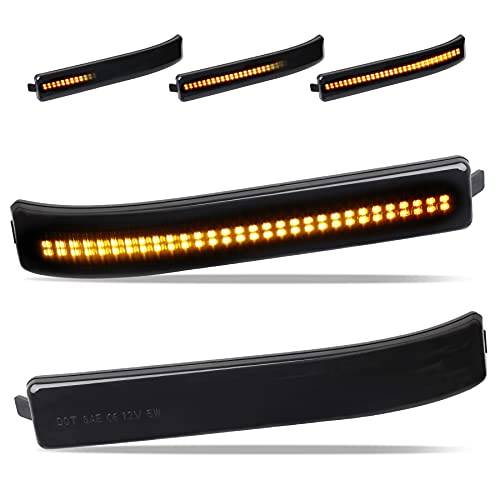 ADZERD Smoked Side Mirror Reflector Sequential LED Turn Signal Lights Compatible...