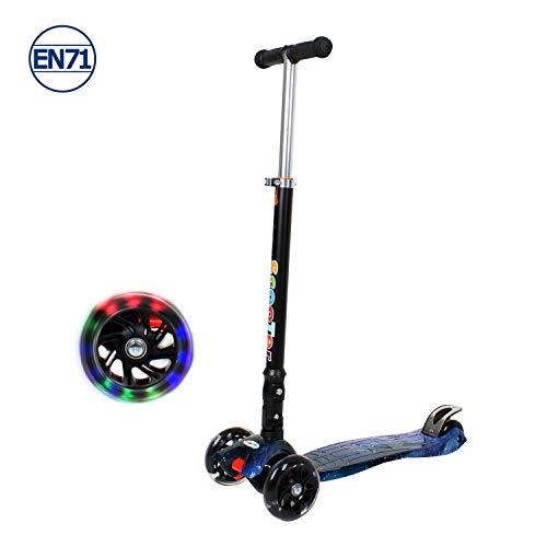 STREAM 3 -Räder Scooter für Jungen und Mädchen Alter 3-8 Jahre alt, Einstellbare Lenkstange Faltbarer Leichtgewicht Scooter mit Flashing Led Light Up Wheels für Kinder (blau)