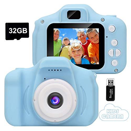 GlobalCrown Appareil Photo pour Enfants,Mini Caméra Numérique Rechargeable Caméscope Antichoc Photo/vidéo pour Filles Garçons de 3 à 10 Ans, Vidéo HD 1080p pour Jeu en Plein air (32G Carte Incluse)