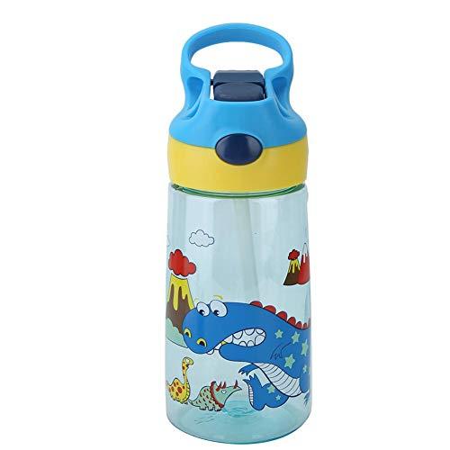 Jingyi Taza de alimentación para bebés, portátil Taza de alimentación para bebés Simple y práctica Dibujos Animados Niños Niño Taza de Bebida de Agua Botella de Paja(Azul)