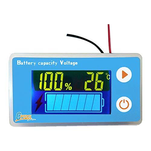 Voltmetro con schermo LCD per batteria al piombo acido, multifunzione, per misurare la capacità della batteria, con indicazione della temperatura e spia per monitorare la tensione