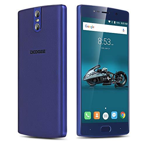 DOOGEE BL 7000-5.5 Inch FHD Android 7.0 Smartphone con la batería 7060mAh, cámaras triples, Textura de Cuero + Cuerpo de Metal, MTK6750T Octa Core 4GB + 64GB- Azul