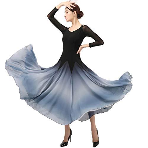 National Standard Ballsaal Tanzen Leistungskostüm für Damen Farbverlauf Rock Glattes Modern Tango Dance Übungskleid Hohe Elastizität Kann Angepasst Werden,A,XXL