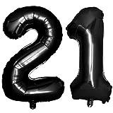 Iwinna 40 Black Number Balloons 21st Jumbo Foil Balloon for Birthday Anniversary Party Decoration