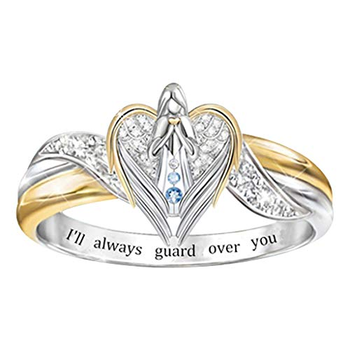 zhushuGG Lettering Angel Diamond Ring I'll Always Guard Over You Fashion Vintage Ladies Two-Tone Ring Jewelry for Women Girls Accessories Gift Engagement Gift for Mom Girl