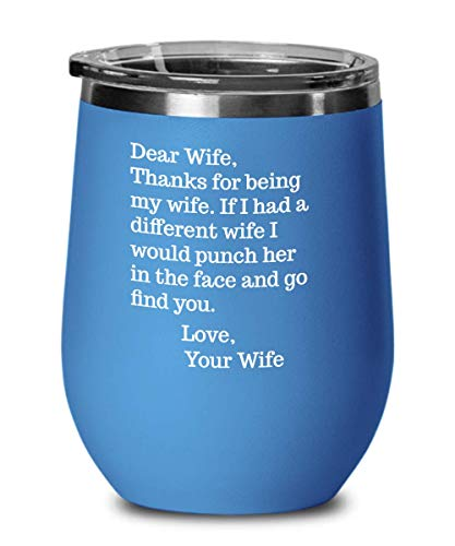 Dear Wife Mug Wine Tumbler for Lesbian Wife Gifts for Her Funny Face Punch Tea Cup Valentines Anniversary Birthday Gag Gift for Women Hers and Hers Mr