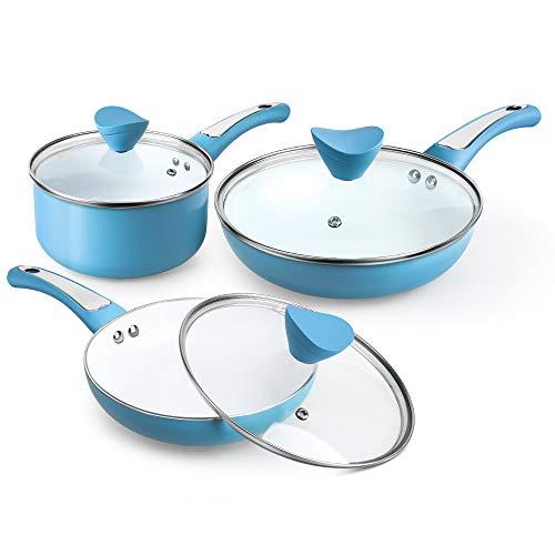 SHINEURI Pots and Pans Set Nonstick Cookware Set 6 Pieces - 20cm Frying pan w/lid, 24cm Omelet pan w/lid and 2 qt Saucepan w/lid - Induction, Ceramic (Blue)