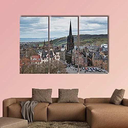 WERSD Stampe Quadri Tela 3 Pezzi di Tela Ex Chiesa Gotica sul Royal Mile Immagini Moderni Murale Fotografia Grafica da Parete Astratto Pronto da Appendere Decorazioni