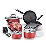 T-fal B062SC64 Signature Titanium Advancend Nonstick Pots and Pans Cookware Set, 12 Piece, Red