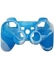 OSTENT Funda de piel de camuflaje cubierta de silicona compatible para Sony PS2 / 3 inalámbrico / controlador con cable - Color azul