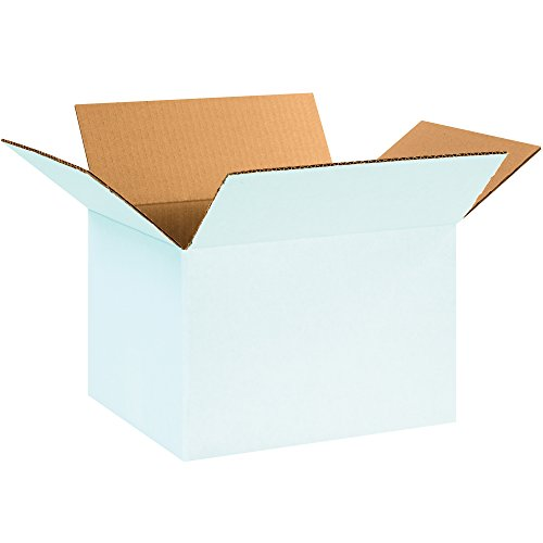 "BOX USA B12108W Corrugated Boxes, 12""L x 10""W x 8""H, White (Pack of 25)"
