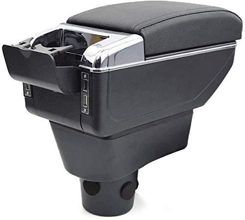 YuChen Caja Reposabrazos Coche para Mitsubishi para Attrage 2015-2018 Reposabrazos De Coche De Doble Capa Consola Central Reposabrazos con Función De Carga De Puertos USB Apoyabrazos