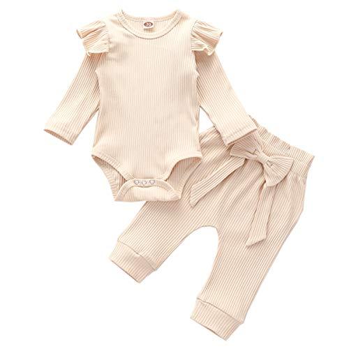 Geagodelia Babykleidung Set Baby Mädchen Kleidung Outfit Langarm Body Strampler + Hose Neugeborene Weiche Einfarbige Babyset T-45461 (Beige, 0-6 Monate)