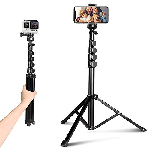62' Phone Tripod Accessory Kits, Aureday Camera & Cell Phone Tripod Stand with Bluetooth Remote and Universal Tripod Head Mount, Perfect for Selfies/Video Recording/Vlogging/Live Streaming