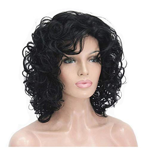 GAXQFEI Wig-Short Black Black Rizado Wig Jet Black Synthetic Afro Curly Pelucas para Mujer Negra