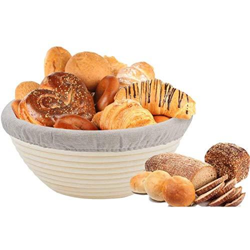 Sibosen 8 Inch Round Bread Banneton Proofing Basket, Natural Rattan Baking Dough Sourdough Bread Banneton Baskets w/Cloth Liner, Round