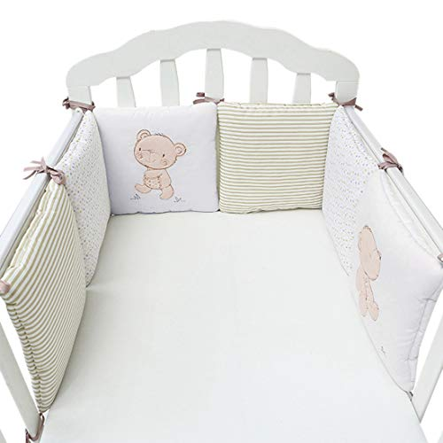 Hengfey Cotton Breathable Baby Crib Bumpers Beige 6 PCS