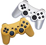 FSC Pack of 2 Mixed Colors PS3 Wireless Remote Gamepad Controller for use with Playstation 3 (Silver/Golden)