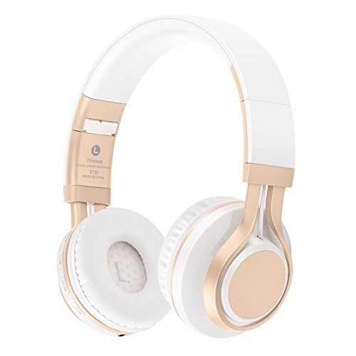 Bluetooth Over-Ear Kopfhörer,EONANT Bluetooth Kopfhörer Wireless Stereo Headset Faltbarer Kopfhörer mit Mikrofon,TF Karte Modus, 3,5mm Audio AUX, für PC TV Smart Phones&Tablets(White-Gold)