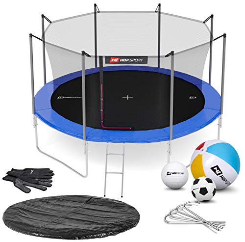 Hop-Sport Trampoline 14 ft Outdoor Garden - Complite Set with Safety Net Ladder Rain Cover Padding + Free Accessories - Blue/Inside Safety Net
