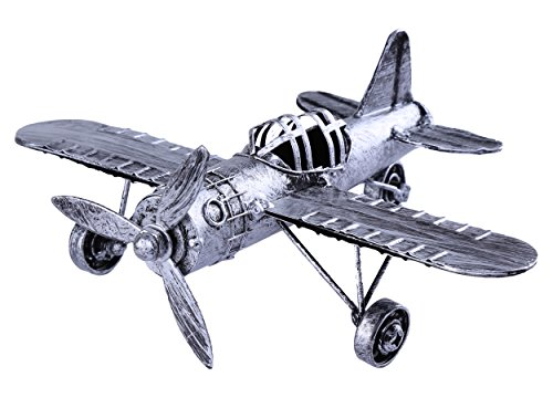 Vintage Retro Iron Aircraft Handicraft - Metal Biplane Plane Aircraft Models -The Best Choice for Photo Props Home Decor/Ornament/Souvenir Study Room Desktop Decoration (Silver01)