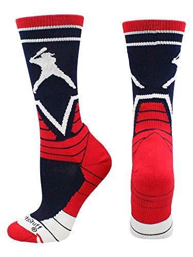 MadSportsStuff Victory Baseball Socken mit Player Crew Länge (Marineblau/Scharlachrot/Weiß, Größe L)