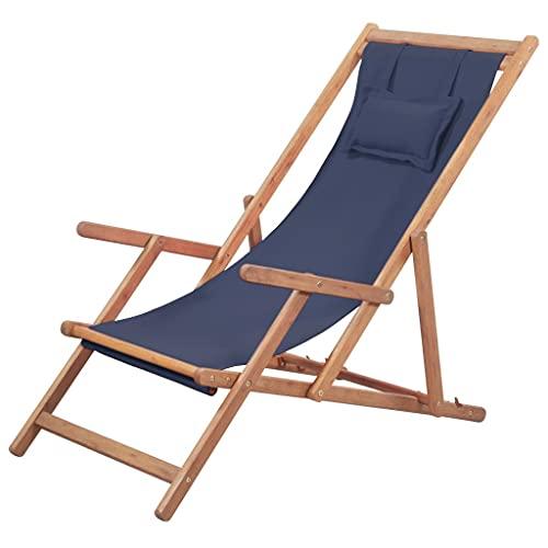 vidaXL Holz Liegestuhl Stoff Blau Sonnenliege Strandliege Gartenliege Liege