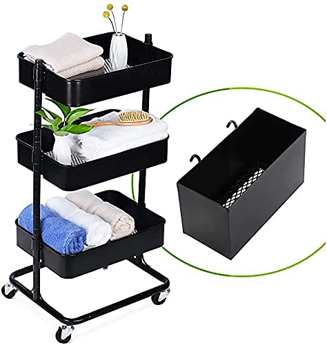 Household Three-Layer Metal Rolling Trolley Storage Trolley with casters, Used in Kitchen, Office, Bathroom, Etc.