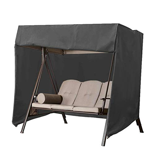 skyfiree Patio 3 Triple Swing Cover Waterproof Durable Hammock Swing Glider Cover 87x49x67 inches All Weather Protection Outdoor Garden Furniture Covers Black