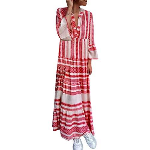 Ansenesna Kleid Damen Lang V Ausschnitt Elegant Strandkleid Frauen Mit Ärmel Vintage Party Maxikleid