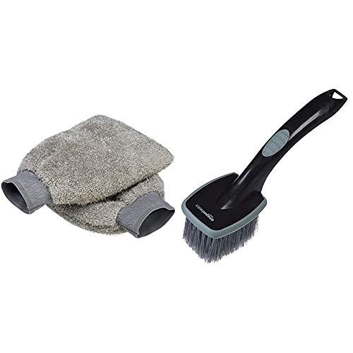 Amazon Basics - Mitón para Lavado de Coches de Microfibra, Paquete de 2 + Cepillo para Ruedas, Mango Corto