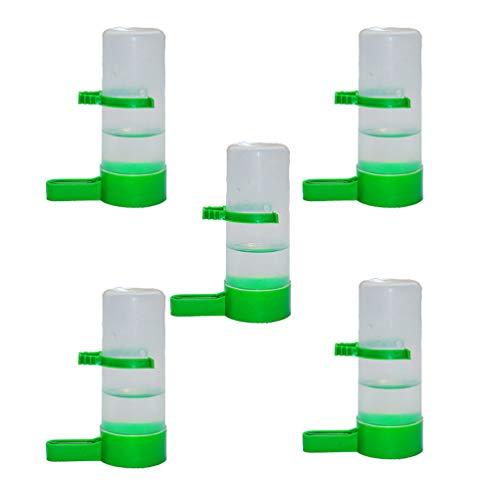 NICEXMAS 5 Piezas Alimentador de Pájaros Bebedero Bebedero Clip Plástico Automático Agua Potable Rociador Pájaro Taza Bebedero Cuenco Bebedero para Loros Budgie Aviario Cockatiel - L