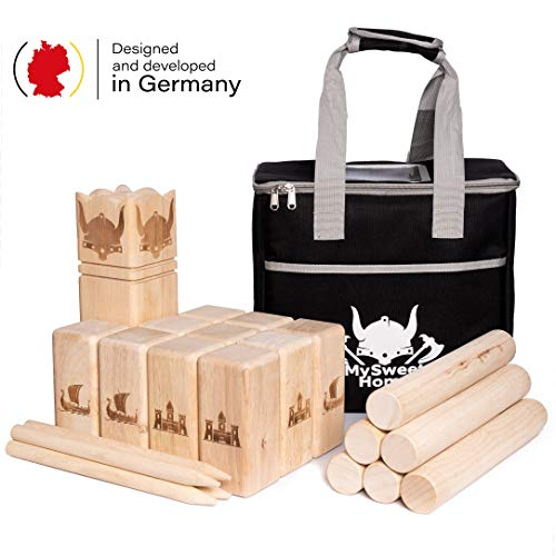 MSH Wickingerschach Holz [Premium] Vikinger Schach aus Gummibaum Holz – Kubb Spiel für Erwachsene und Kinder - mit praktischer Tragetasche