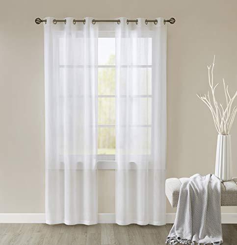Gardinen Schals Weiß Voile Vorhänge Wohnzimemr Transparent Vorhang für Fenster Lora (2X H/B: 175/140 cm)