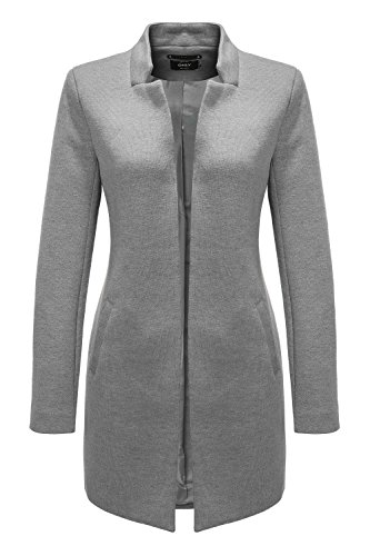ONLY Damen onlSOHO Coatigan CC OTW Mantel, Grau (Light Grey Melange), 38 (Herstellergröße: M)