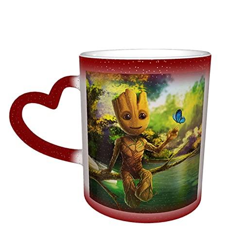 Groot Anime - Taza cambiante de color en el cielo, cerámica sensible al calor, cambiante, taza de viaje, taza de café, tazas de té, color rojo