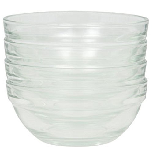 Stackable Serving Cooking Mixing Prep Clear Glass Bowl, 3.5-Inch,4-Inch,6-Inch Set of 4,3 and 1 (4, 3.5 inch)