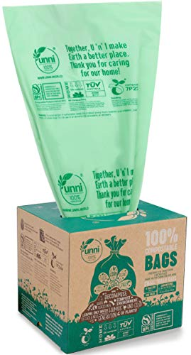 UNNI ASTM D6400 100% Compostable Trash Bags, 4 Gallon, 15 Liter, 100 Count, Extra Thick 0.75 Mils, Small Garbage Bags,Wastebasket Bin Liners, US BPI and Europe OK Compost Home Certified, San Francisco