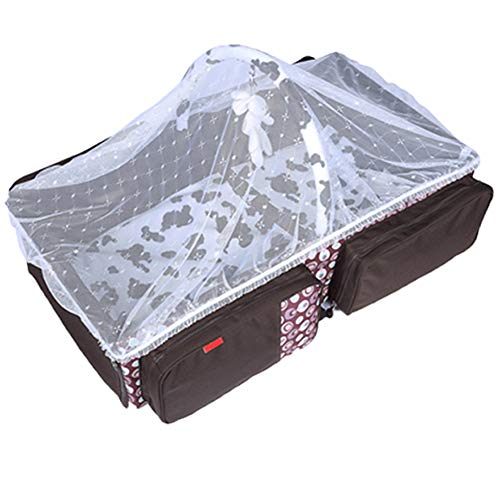 4 in 1 Portable Bassinet Travel Beds, Diaper Bags Changing Station Baby Shower (Brown)