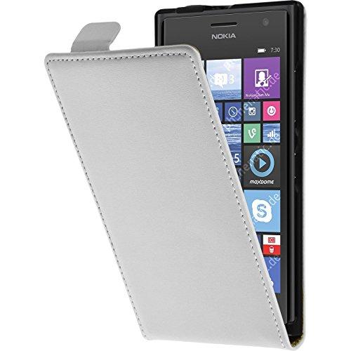 PhoneNatic Kunst-Lederhülle kompatibel mit Nokia Lumia 730 - Flip-Hülle weiß + 2 Schutzfolien