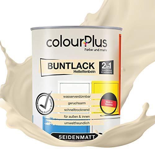 colourPlus® 2in1 Buntlack (750ml, RAL 1015 Hellelfenbein) seidenmatter Acryllack - Lack für Kinderspielzeug - Farbe für Holz - Holzfarbe Innen - Made in Germany