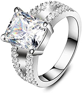 Lucky Jewelry 3.85CT 18K White Gold Cushion Shape Wholesale Engagement Rings for Women SONA Lovely Diamond Ring for Anniversary Xmas Gift (12)